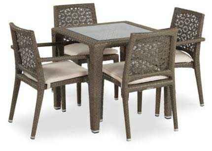 Madrid Esstisch 80 x 80 mit Sesseln und Stühlen