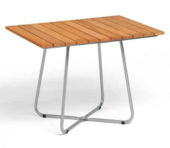BALCONY Tisch 100 x 70 cm, Edelstahl / Teak, beidseitig klappbar