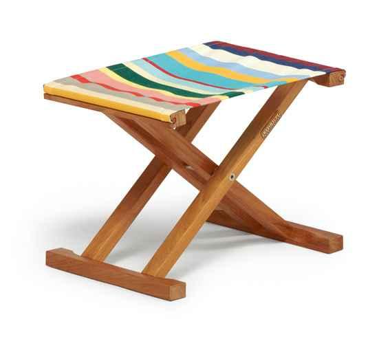 CABIN Hocker zu Liegestuhl, klappbar, Teak / Bespannung