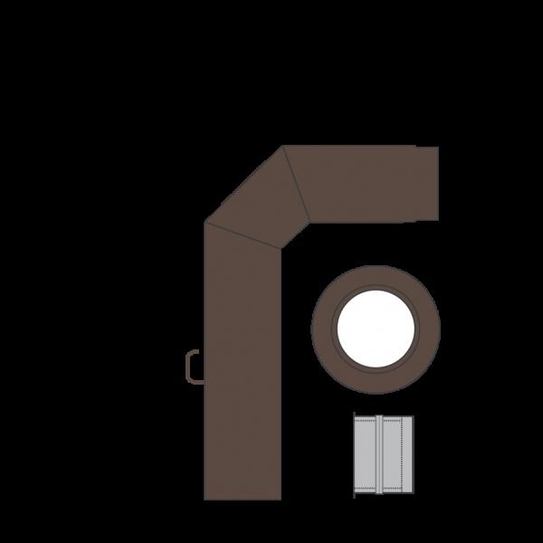 Rauchrohrset dreiteilig, 150 mm, braun-metallic