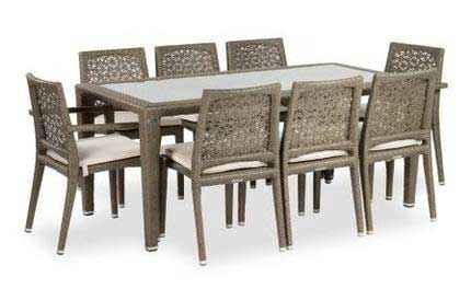 Madrid Esstisch 180 x 90 mit Sesseln und Stühlen