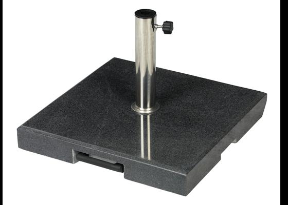 Granitsockel 55 kg schwarz mit Ausziehgriff und Rollen, Standrohr Edelstahl 25 - 55 mm