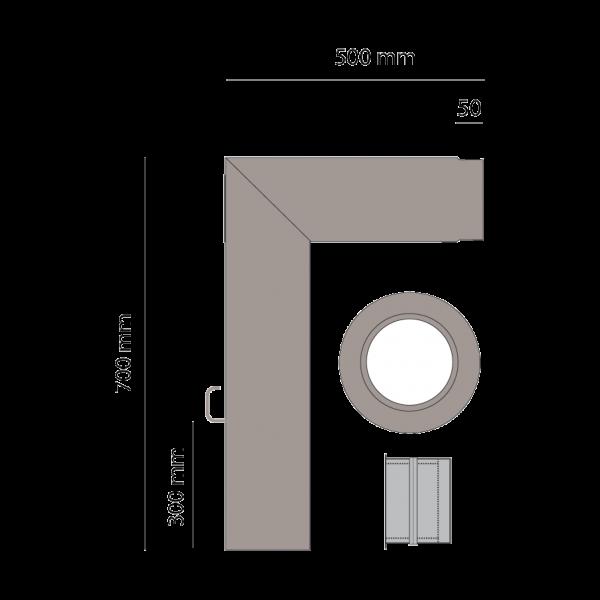 Rauchrohrset zweiteilig, 150 mm, platin