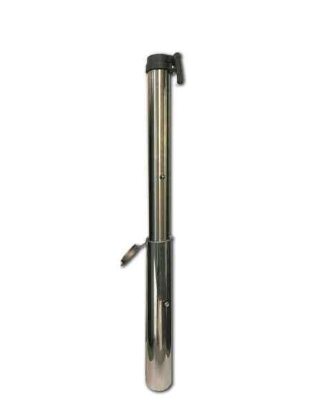 Bodenhülse Aluminium mit Übergangsrohr Edelstahl 55 mm