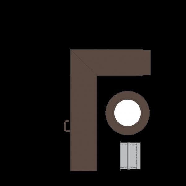 Rauchrohrset zweiteilig, 150 mm, braun-metallic