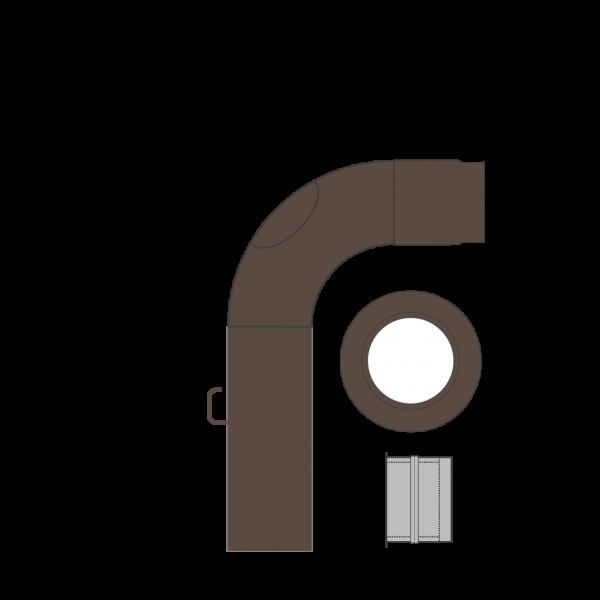 Rauchrohrset einteilig, 150 mm, braun-metallic