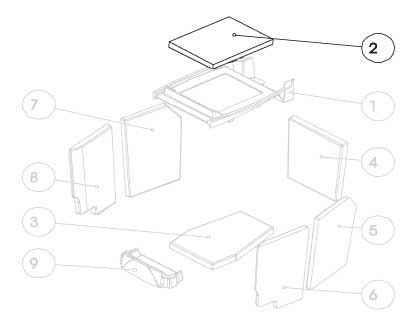 G1 Vermiculiteplatte oben / Umlenkplatte / Zugplatte (Ziffer 2)
