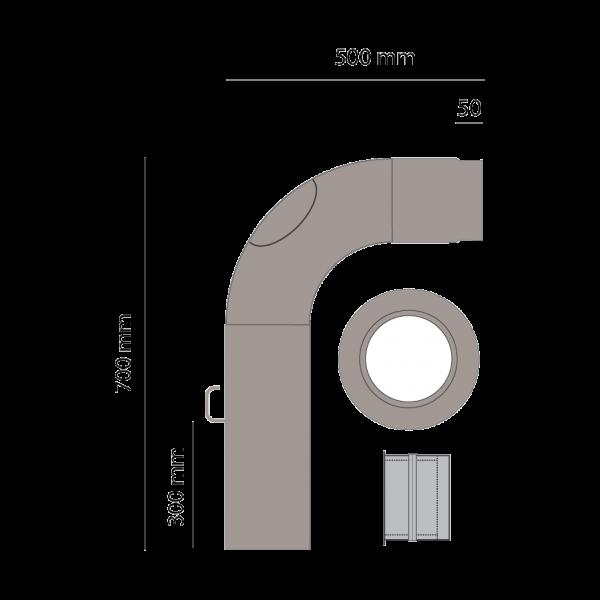 Rauchrohrset einteilig, 150 mm, platin