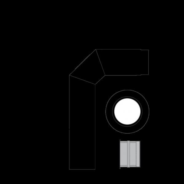 Rauchrohrset dreiteilig, 130 mm, schwarz-metallic