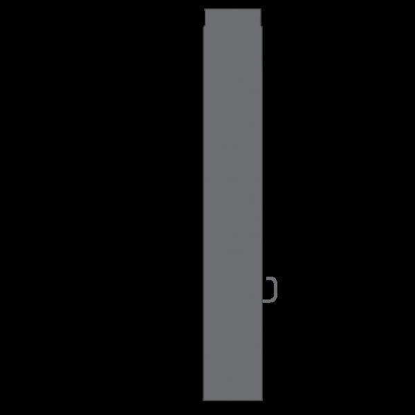 Rauchrohr 1000 mm, Ø 130 mm mit Drosselklappe, gussgrau