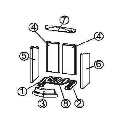 TOWER Xtra / TOWER Xtra 2.0 Keramott Feuerraumauskleidung komplett (Ziffer 1-7)