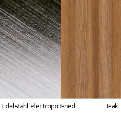 Gestell Edelstahl electropolished / Streben Teak