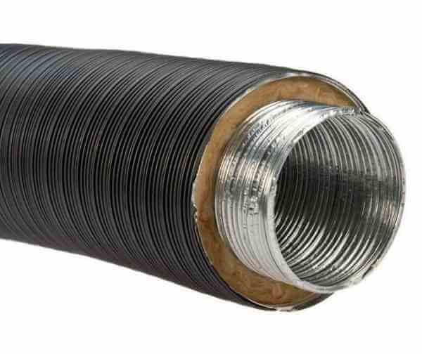 Alu-Isolierflexrohr Ø 125 mm (innen) schwarz, 80 cm Länge