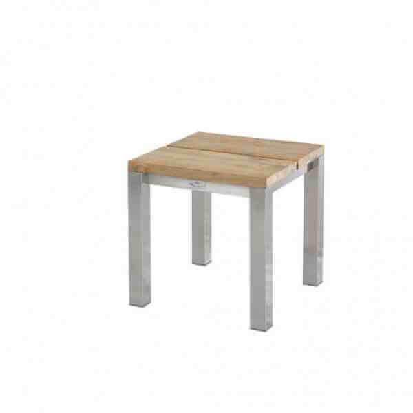 Piero Hocker 45x45 cm Edelstahl Gestell mit Teakholz 2-Planken