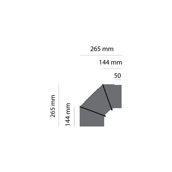 Winkelrohr 0-90° verstellbar, Ø 130 mm, gussgrau