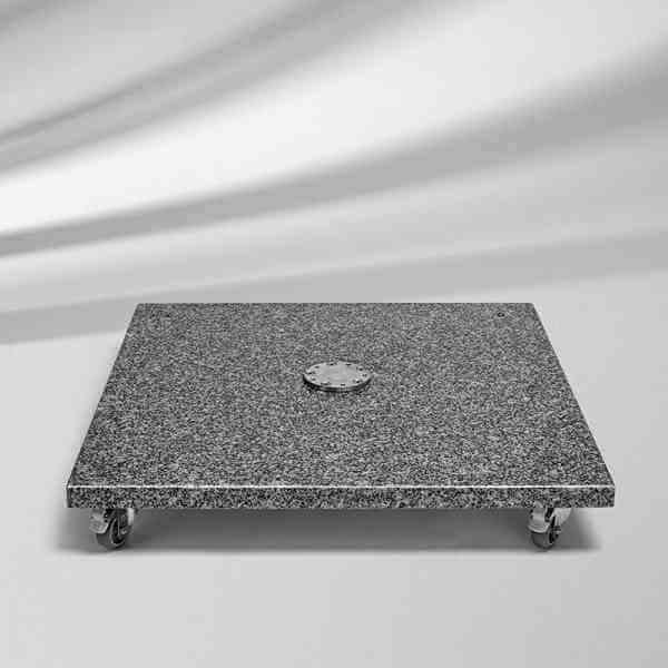 Granitsockel M4, 120 kg, 90 x 90 x 17 cm, Naturstein mit Rollen
