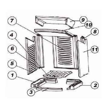 PASHA Keramott Feuerraumauskleidung komplett (Ziffer 1-3 und 5-11, ohne Rost)