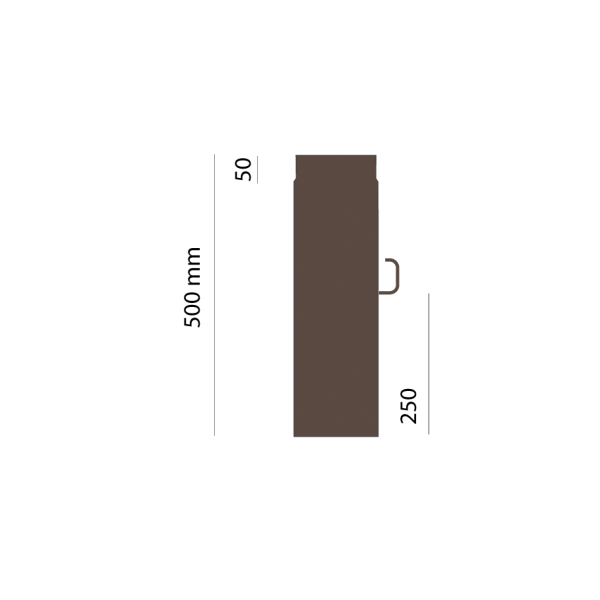 Rauchrohr 500 mm, Ø 130 mm mit Drosselklappe, braun-metallic