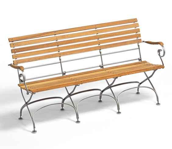 CLASSIC 3-Sitzer Bank mit Armlehnen, klappbar
