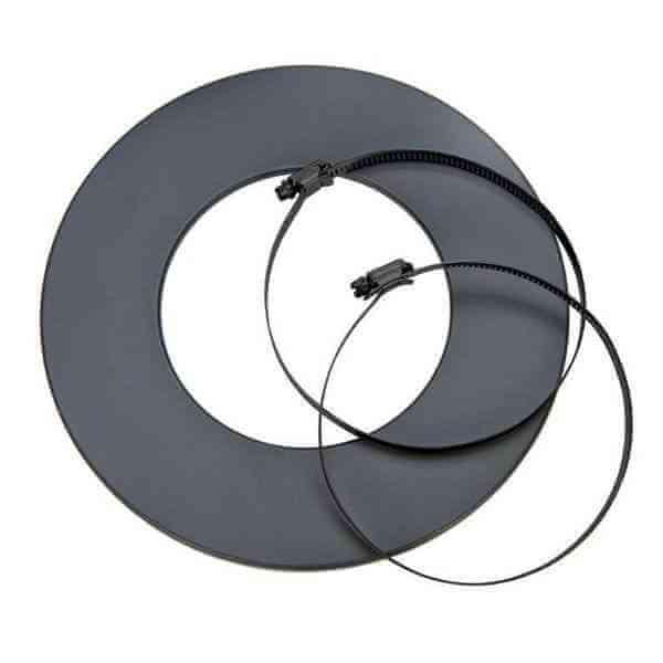 Rosette schwarz für Alu-Isoflexrohr Ø 125 mm, mit zwei Schlauchklemmen