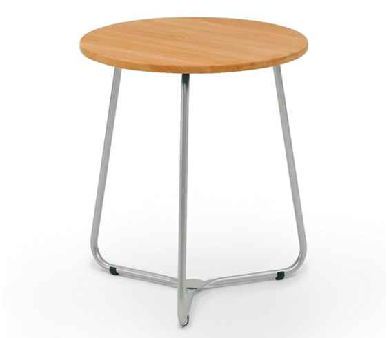 BALCONY Tisch 65 cm rund, Edelstahl / Teak