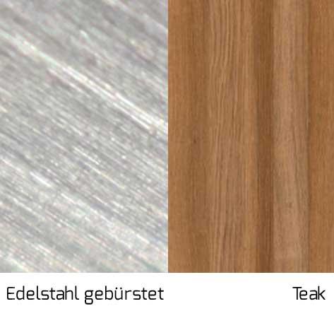 Gestell Edelstahl gebürstet / Streben Teak