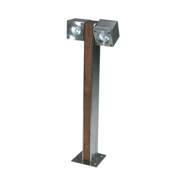 Q-BIC Stehleuchte 60 cm, 2 Spots Teak / Edelstahl