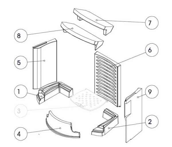 TORSO / DIVA Keramott Feuerraumauskleidung komplett (Ziffer 1, 2, 4-9 ohne Rost)