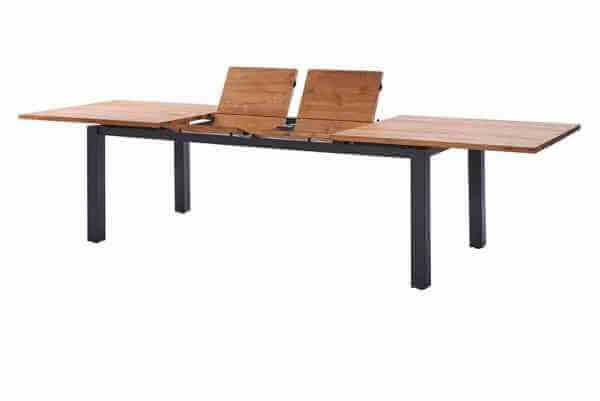 Porto Ausziehtisch Edelstahl dunkelgrau 220-320 x 100cm Teak recycled 3 Planken