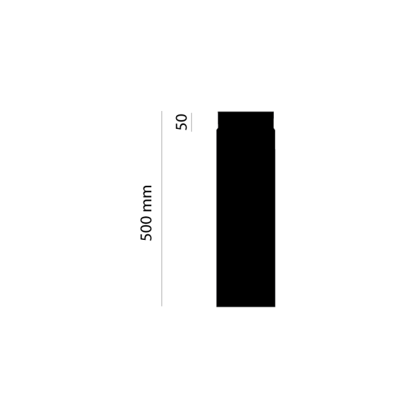 Rauchrohr 500 mm, Ø 130 mm, schwarz-metallic