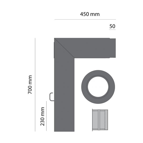 Rauchrohrset zweiteilig, 120 mm, gussgrau