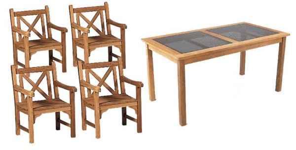 RAVENNA Tisch 150 x 80 mit Glasplatte und vier Abano Sesseln